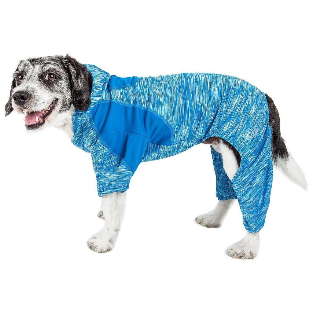 Pet Life ®  Active 'Downward Dog' Heathered Performance 4-Way Stretch Two-Toned Full Body Warm Up Hoodie X-Small Blue