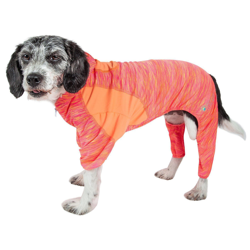 Pet Life ®  Active 'Downward Dog' Heathered Performance 4-Way Stretch Two-Toned Full Body Warm Up Hoodie X-Small Orange