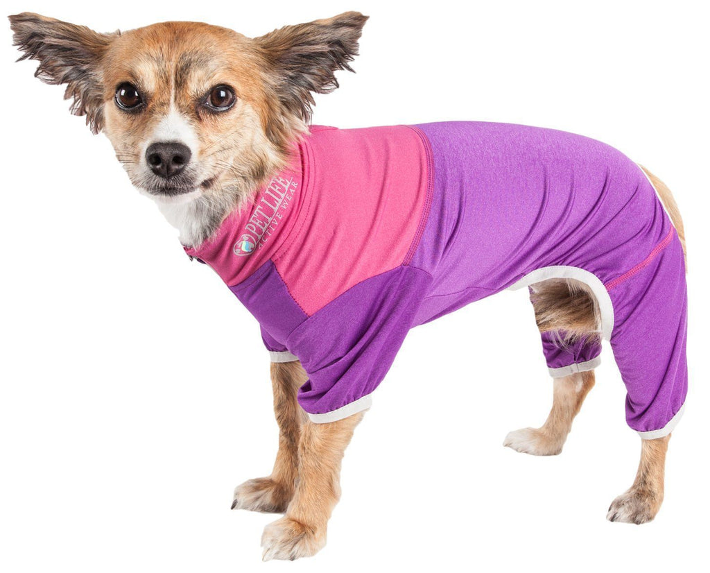 Pet Life ®  Active 'Embarker' Heathered Performance 4-Way Stretch Two-Toned Full Body Warm Up X-Small Lavendar / Pink