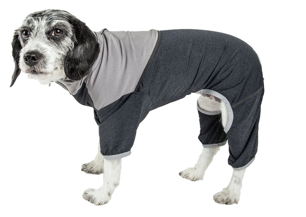 Pet Life ®  Active 'Embarker' Heathered Performance 4-Way Stretch Two-Toned Full Body Warm Up X-Small Black/Gray
