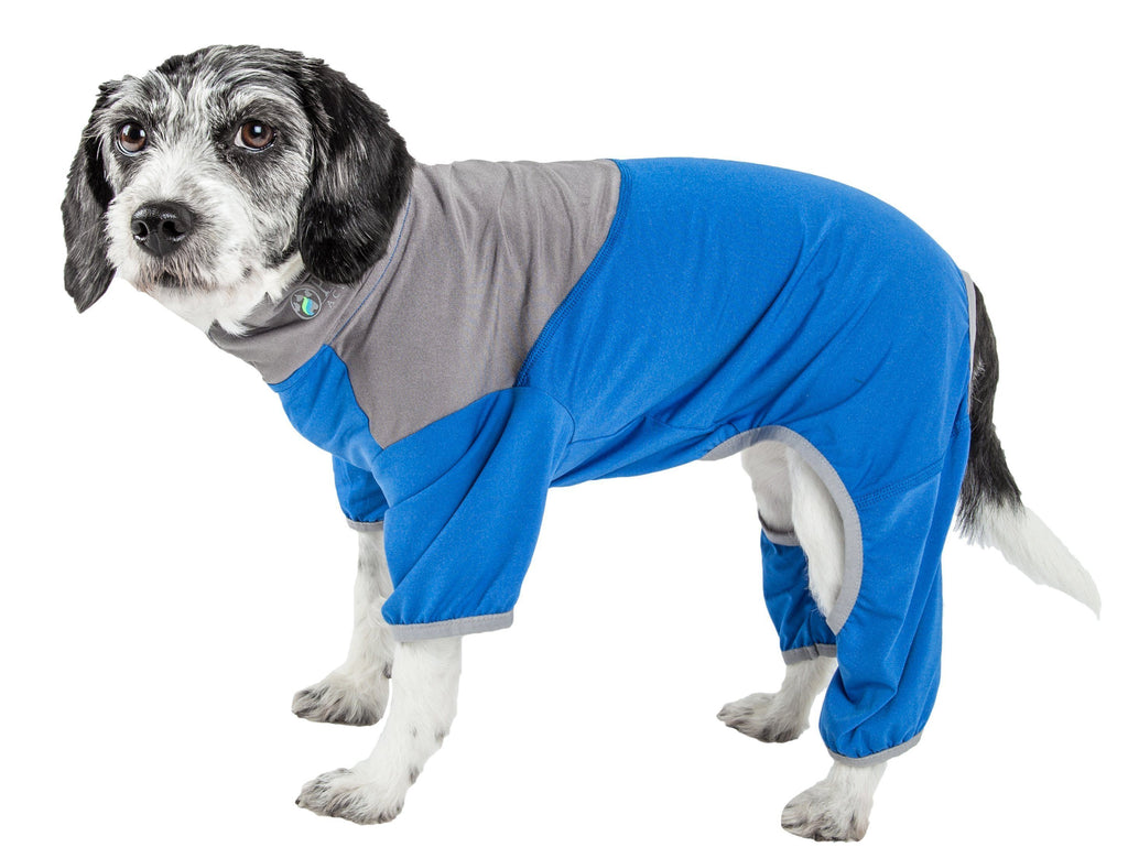 Pet Life ®  Active 'Embarker' Heathered Performance 4-Way Stretch Two-Toned Full Body Warm Up X-Small Blue