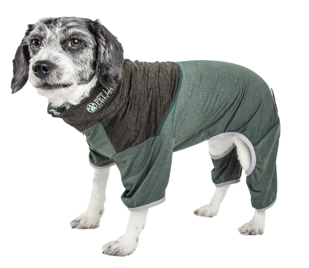 Pet Life ®  Active 'Embarker' Heathered Performance 4-Way Stretch Two-Toned Full Body Warm Up X-Small Hunter Green