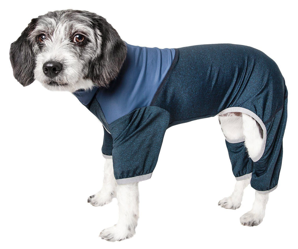 Pet Life ®  Active 'Embarker' Heathered Performance 4-Way Stretch Two-Toned Full Body Warm Up X-Small Teal / Navy