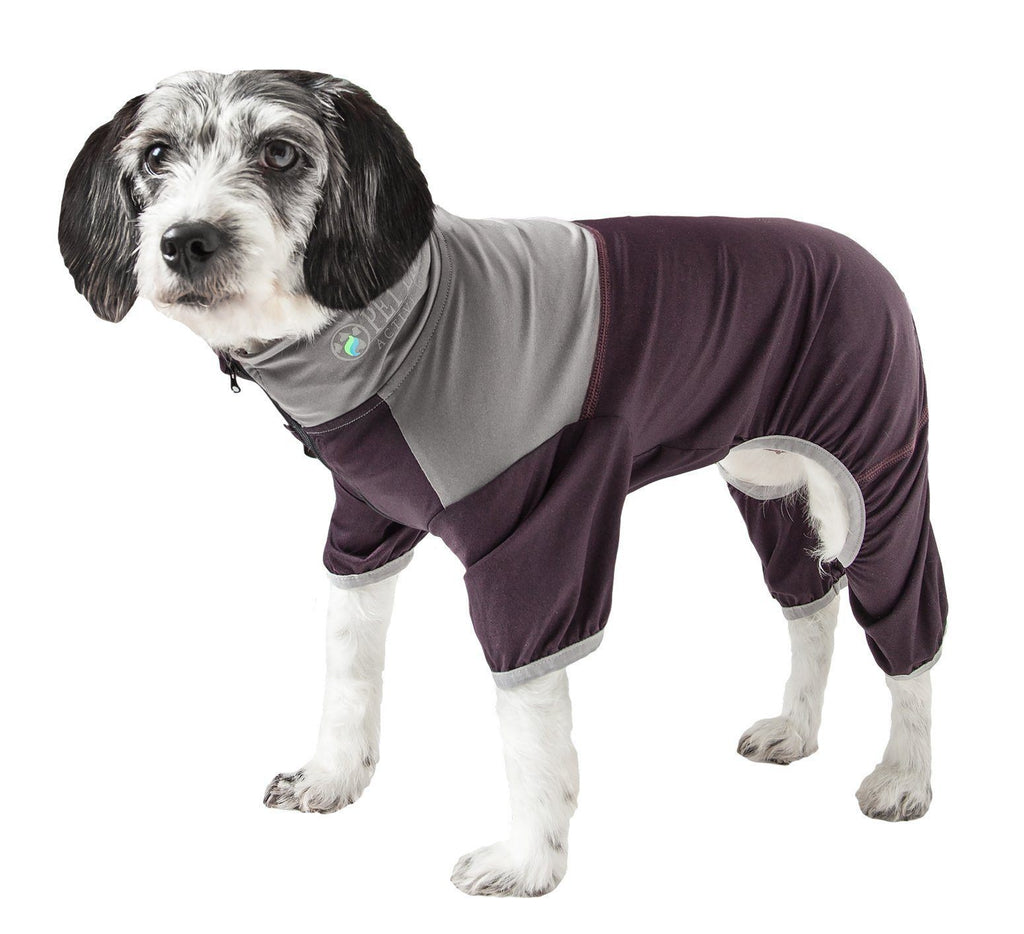 Pet Life ®  Active 'Embarker' Heathered Performance 4-Way Stretch Two-Toned Full Body Warm Up X-Small Burgundy