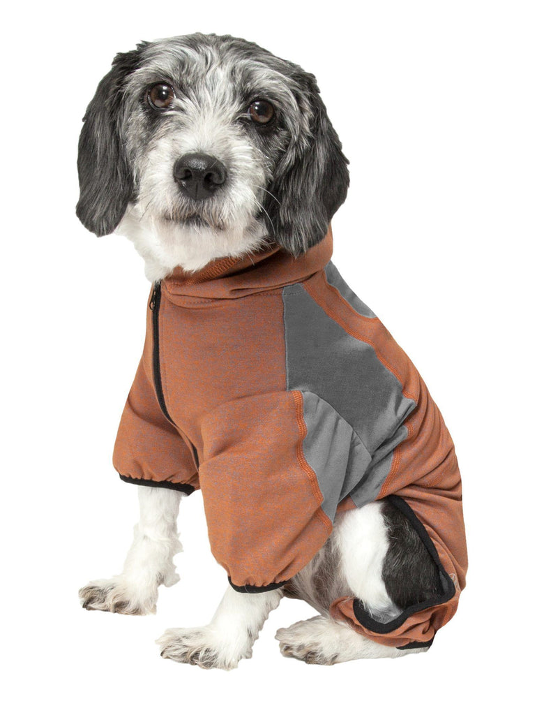 Pet Life ®  Active 'Fur-Breeze' Heathered Performance 4-Way Stretch Two-Toned Full Bodied Hoodie
