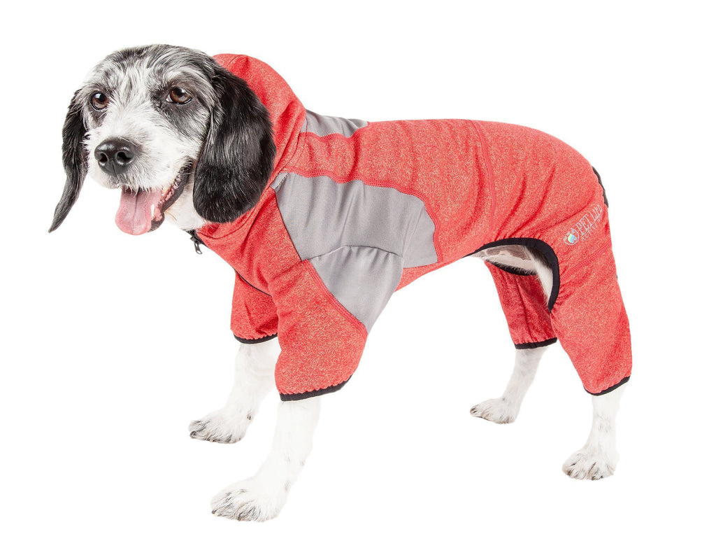 Pet Life ®  Active 'Fur-Breeze' Heathered Performance 4-Way Stretch Two-Toned Full Bodied Hoodie X-Small Fire Red And Light Gray