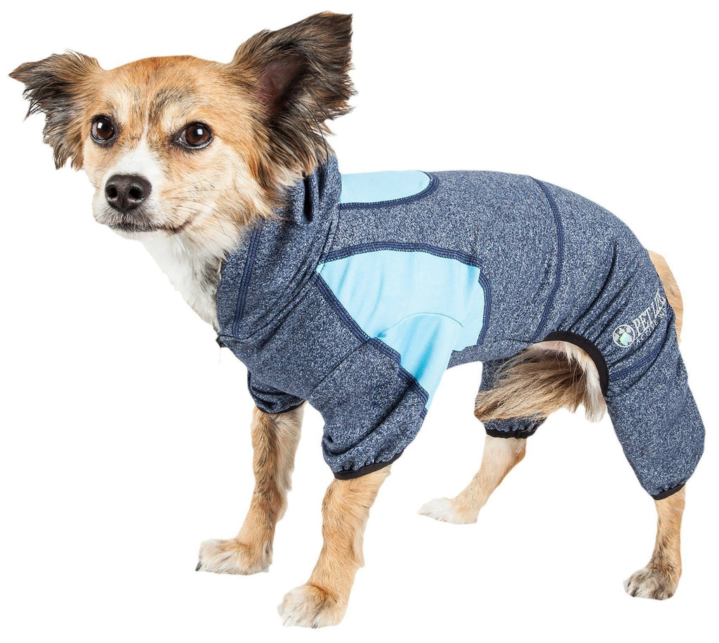 Pet Life ®  Active 'Fur-Breeze' Heathered Performance 4-Way Stretch Two-Toned Full Bodied Hoodie X-Small Blue