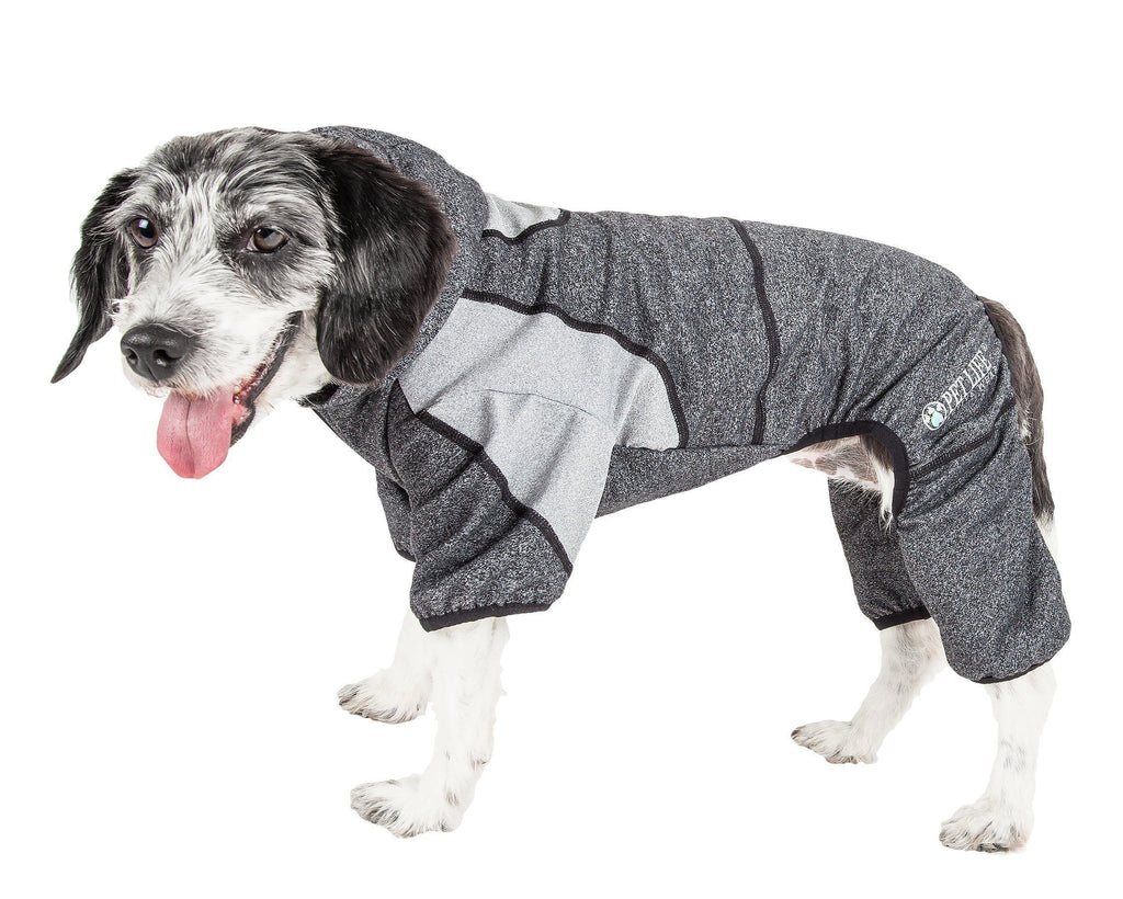 Pet Life ®  Active 'Fur-Breeze' Heathered Performance 4-Way Stretch Two-Toned Full Bodied Hoodie X-Small Black And Gray