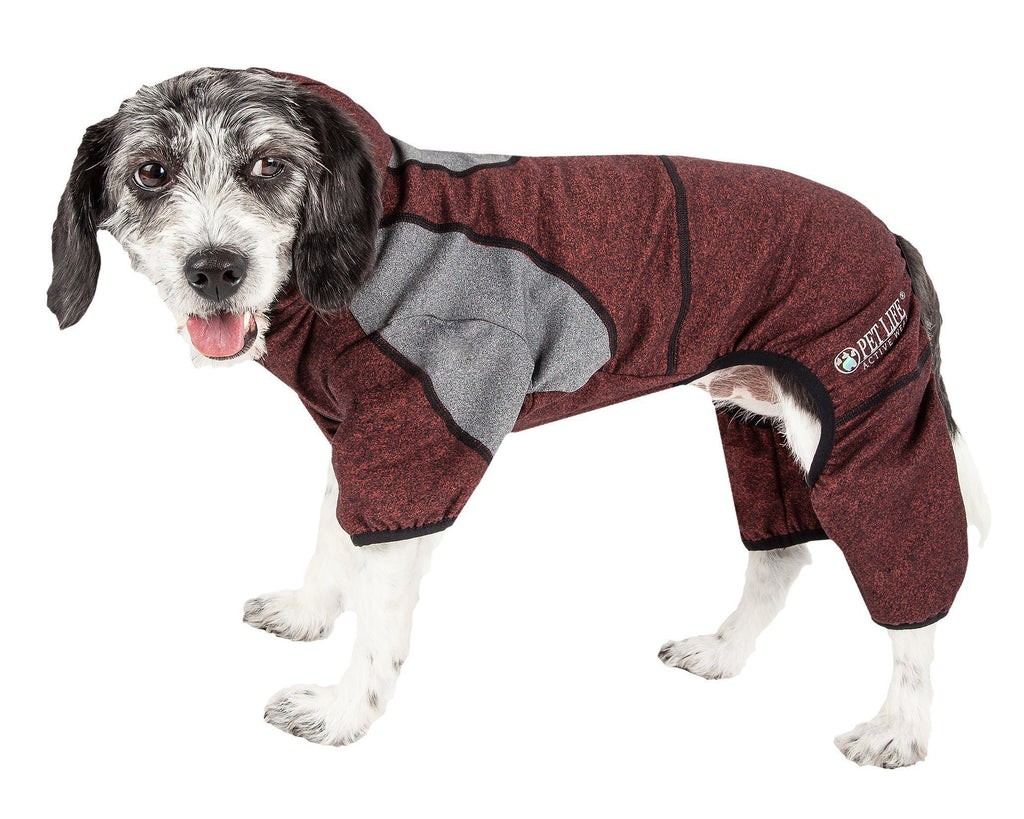 Pet Life ®  Active 'Fur-Breeze' Heathered Performance 4-Way Stretch Two-Toned Full Bodied Hoodie X-Small Burgundy