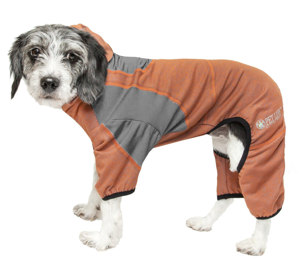 Pet Life ®  Active 'Fur-Breeze' Heathered Performance 4-Way Stretch Two-Toned Full Bodied Hoodie X-Small Burnt Orange