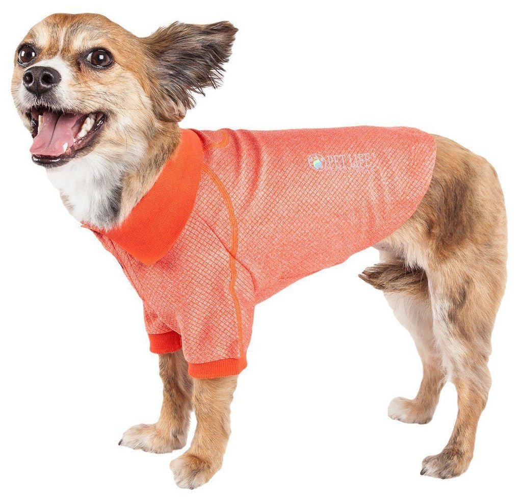 Pet Life ®  Active 'Fur-Flexed' Relax-Stretch Wick-Proof Performance Dog Polo T-Shirt X-Small Orange