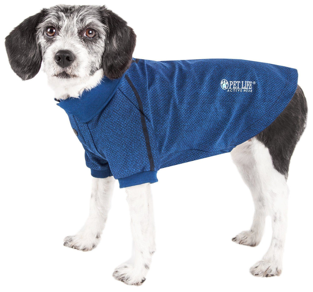 Pet Life ®  Active 'Fur-Flexed' Relax-Stretch Wick-Proof Performance Dog Polo T-Shirt X-Small Navy