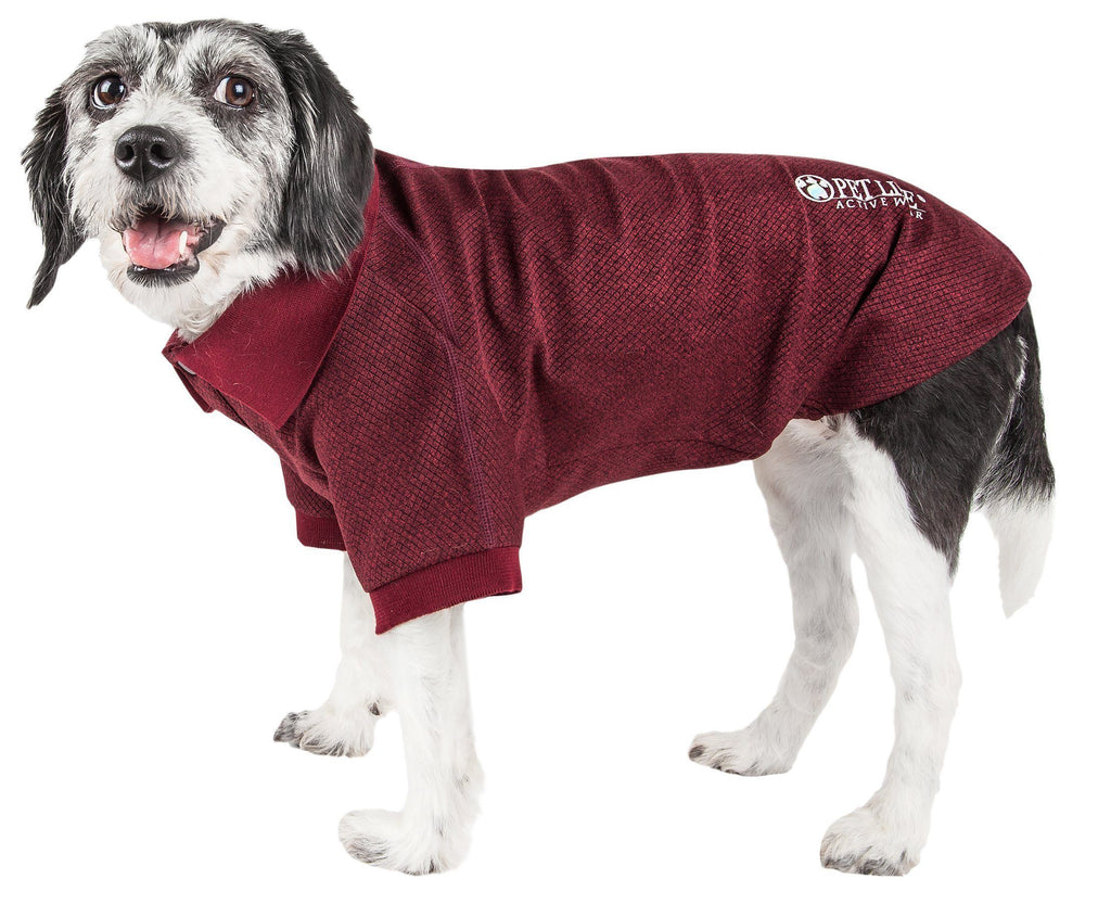 Pet Life ®  Active 'Fur-Flexed' Relax-Stretch Wick-Proof Performance Dog Polo T-Shirt X-Small Burgundy