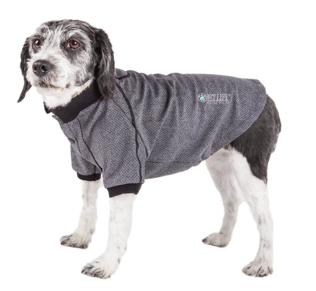 Pet Life ®  Active 'Fur-Flexed' Relax-Stretch Wick-Proof Performance Dog Polo T-Shirt X-Small Gray