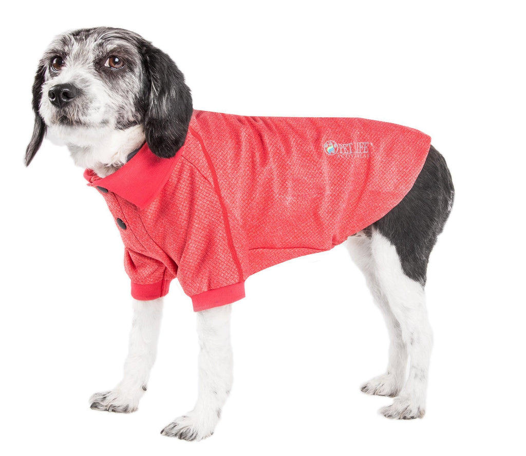 Pet Life ®  Active 'Fur-Flexed' Relax-Stretch Wick-Proof Performance Dog Polo T-Shirt X-Small Red