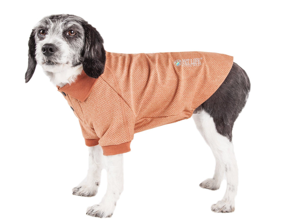 Pet Life ®  Active 'Fur-Flexed' Relax-Stretch Wick-Proof Performance Dog Polo T-Shirt X-Small Tan