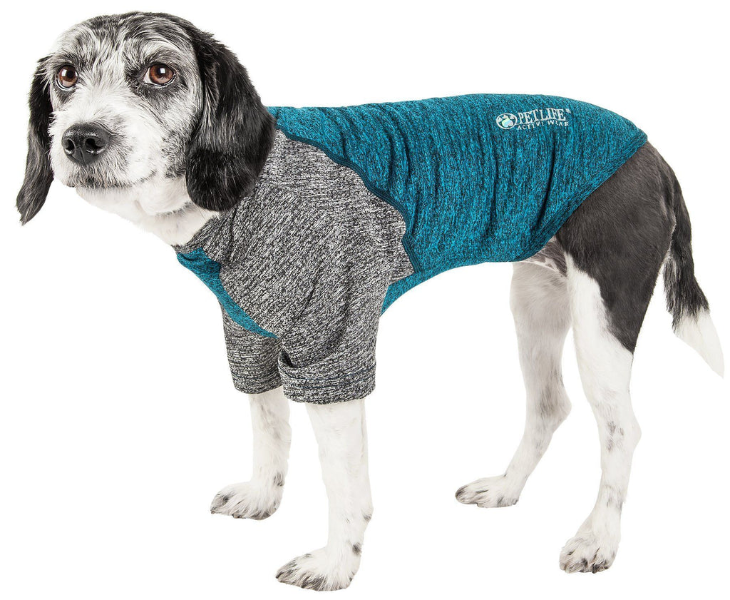 Pet Life ®  Active 'Hybreed' 4-Way Stretch Two-Toned Performance Dog T-Shirt X-Small Teal/Gray
