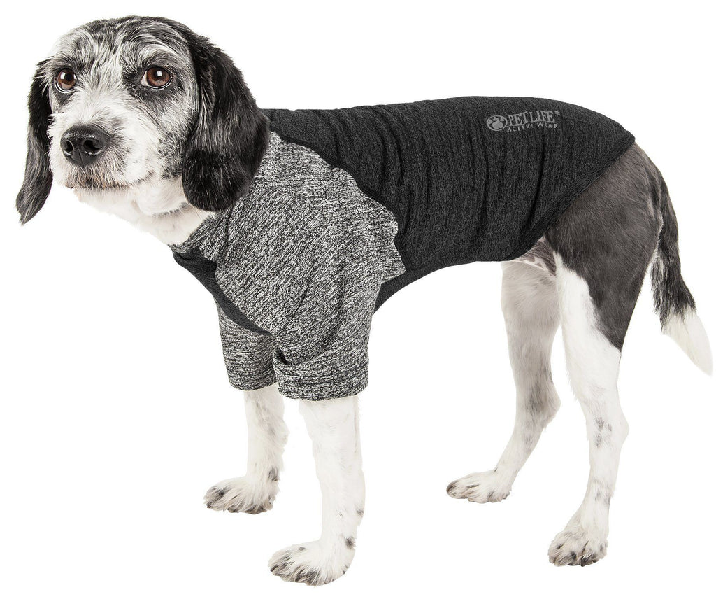 Pet Life ®  Active 'Hybreed' 4-Way Stretch Two-Toned Performance Dog T-Shirt X-Small Black/Gray