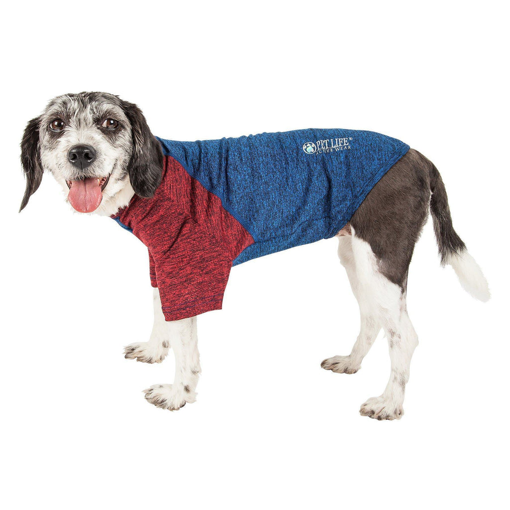 Pet Life ®  Active 'Hybreed' 4-Way Stretch Two-Toned Performance Dog T-Shirt X-Small Blue W/ Maroon Sleeves