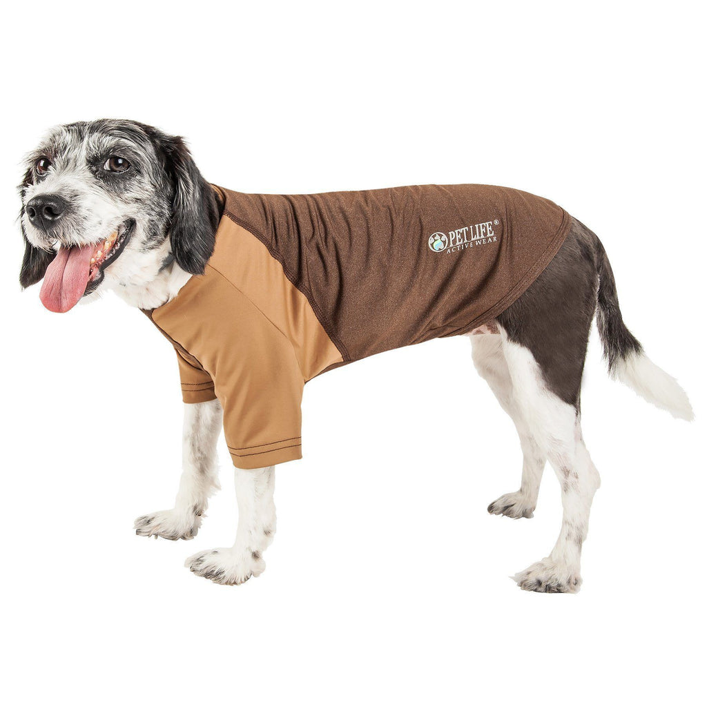Pet Life ®  Active 'Hybreed' 4-Way Stretch Two-Toned Performance Dog T-Shirt X-Small Brown W/ Brown