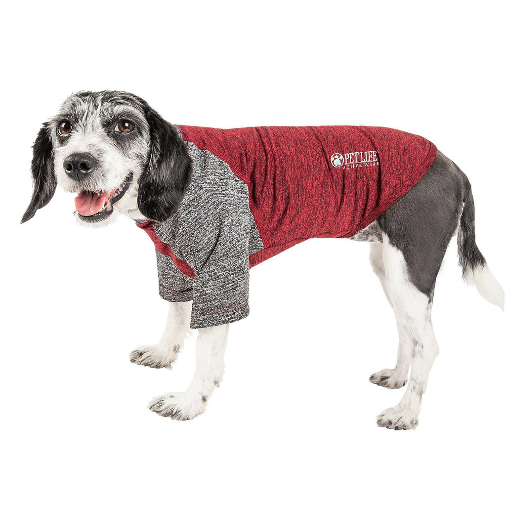 Pet Life ®  Active 'Hybreed' 4-Way Stretch Two-Toned Performance Dog T-Shirt X-Small Maroon W/ Gray