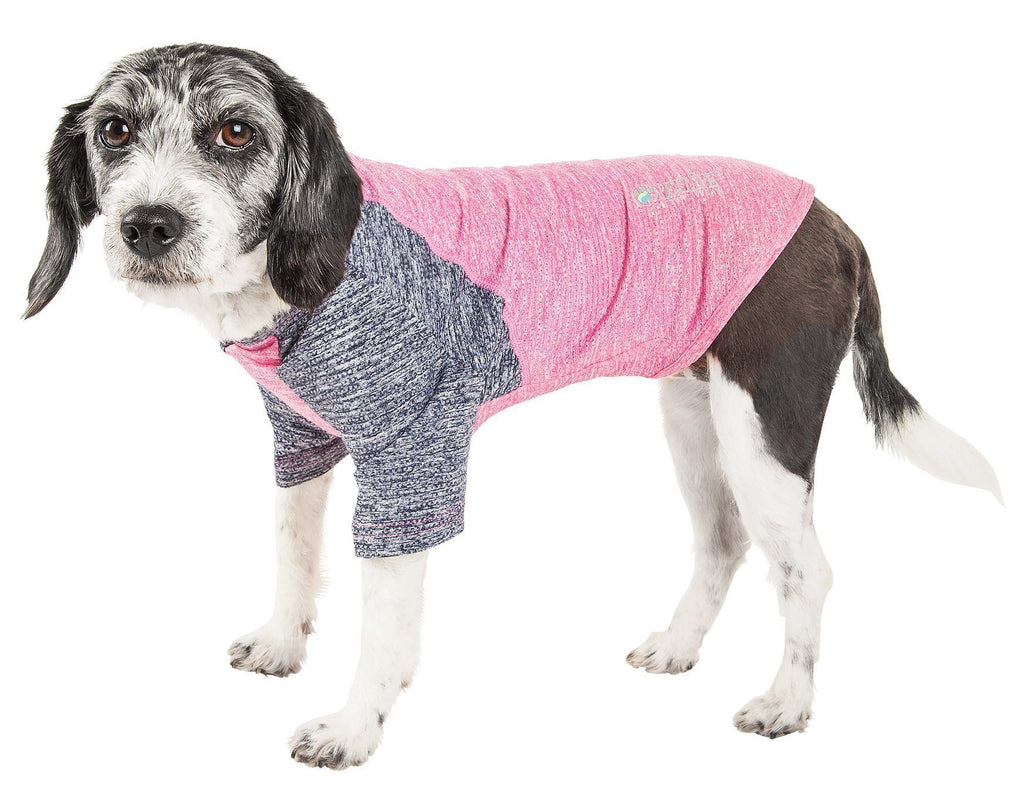 Pet Life ®  Active 'Hybreed' 4-Way Stretch Two-Toned Performance Dog T-Shirt X-Small Pink W/ Navy
