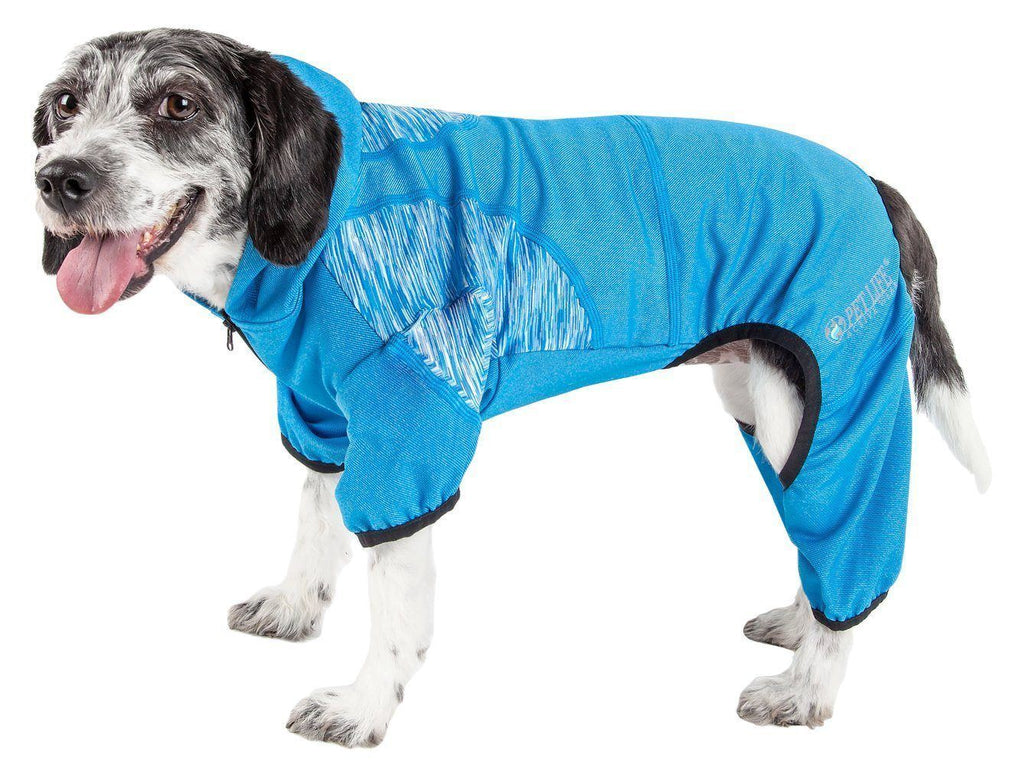 Pet Life ®  Active 'Pawsterity' Heathered Performance 4-Way Stretch Two-Toned Full Bodied Hoodie X-Small Blue