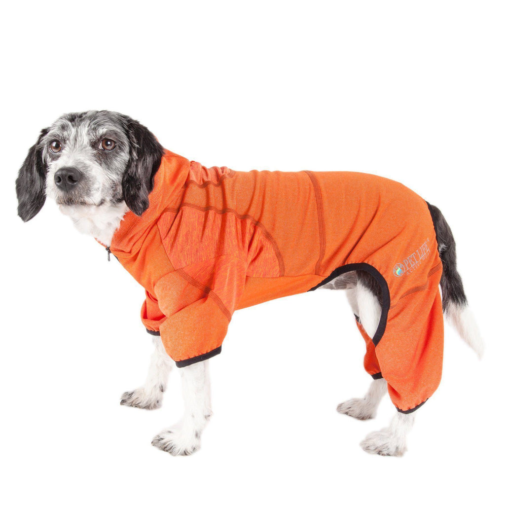 Pet Life ®  Active 'Pawsterity' Heathered Performance 4-Way Stretch Two-Toned Full Bodied Hoodie X-Small Orange