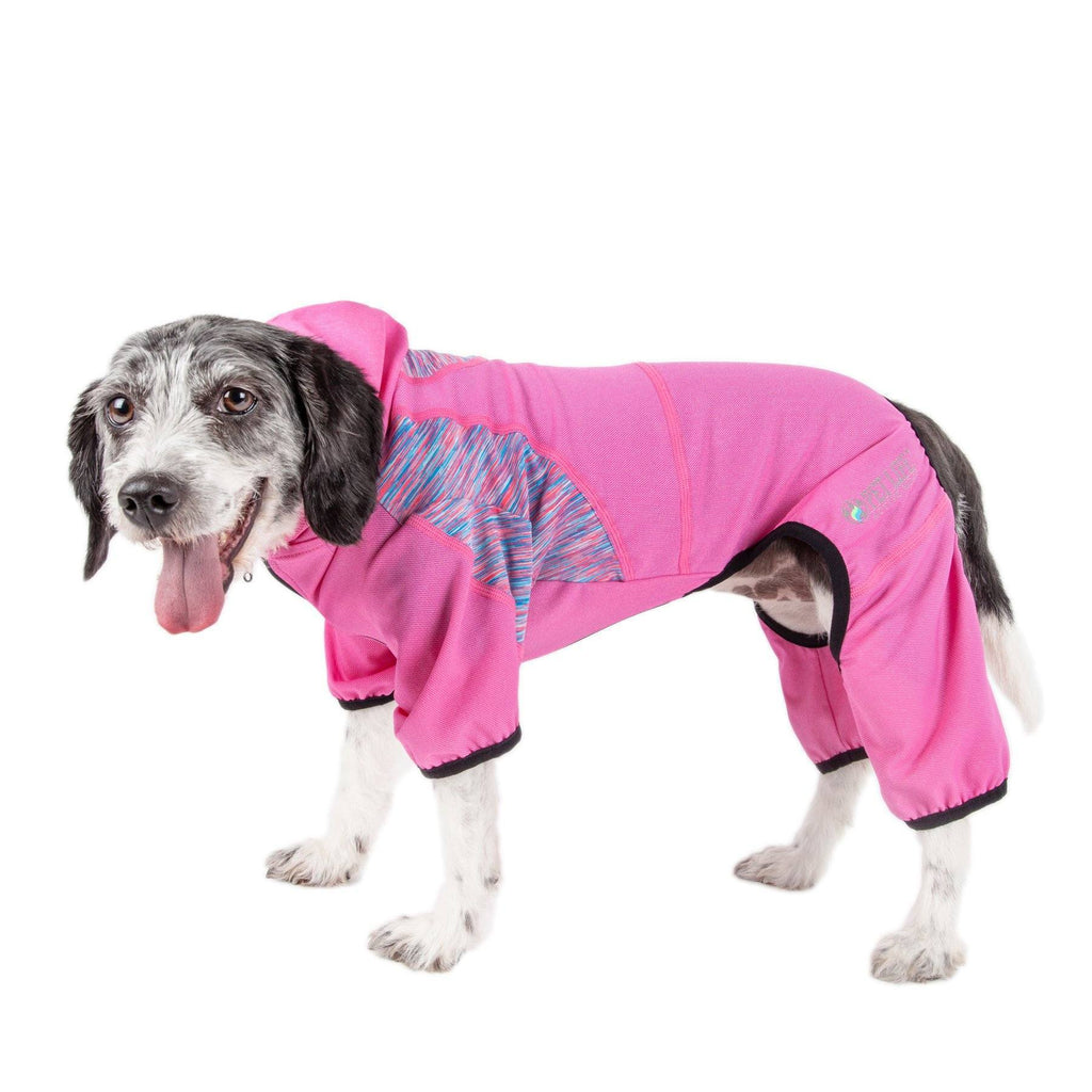 Pet Life ®  Active 'Pawsterity' Heathered Performance 4-Way Stretch Two-Toned Full Bodied Hoodie X-Small Pink