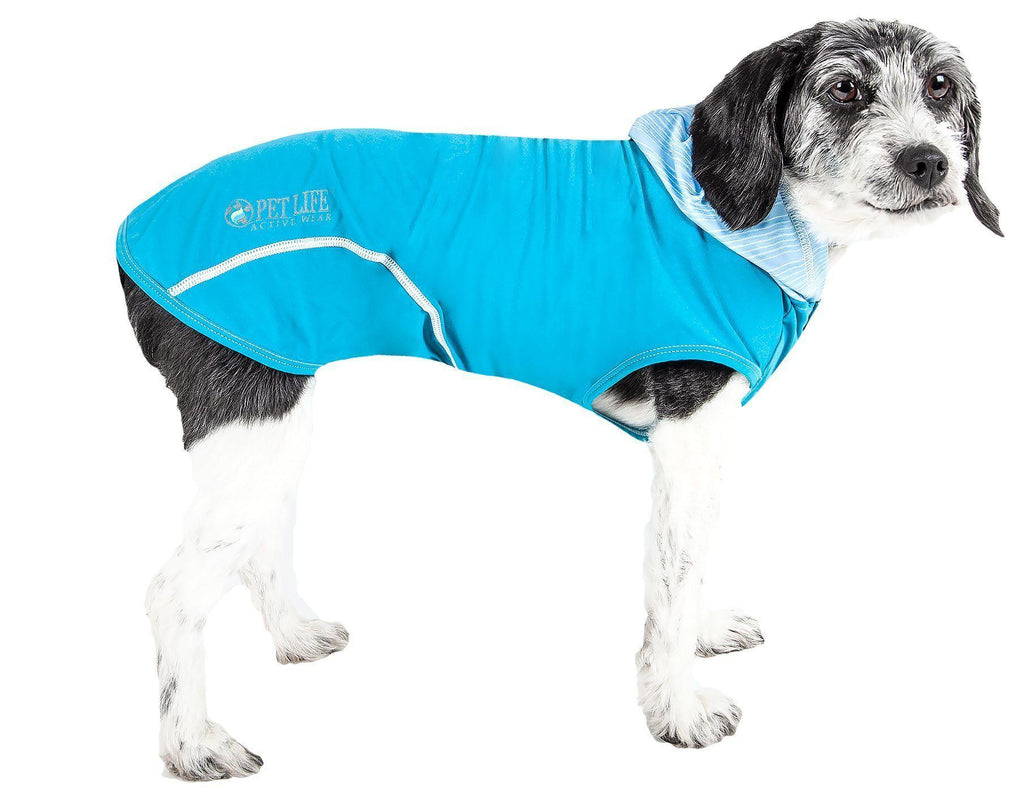 Pet Life ®  Active 'Pull-Rover' Premium 4-Way Stretch Two-Toned Performance Sleeveless Dog T-Shirt Tank Top Hoodie X-Small Electric Blue