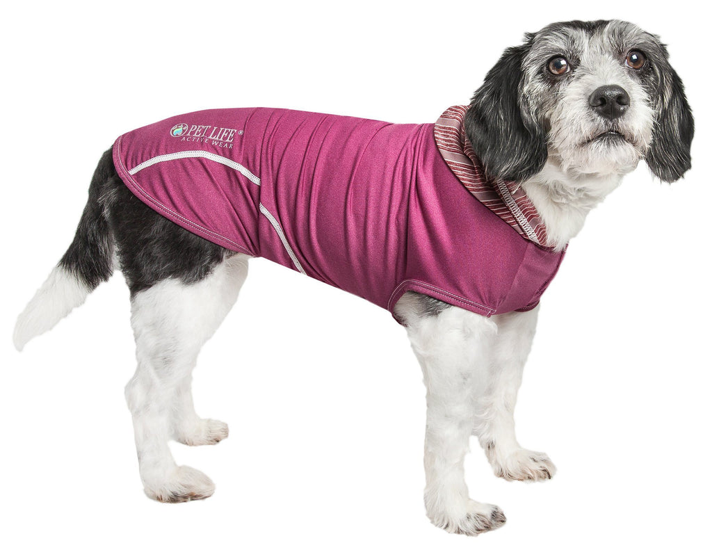 Pet Life ®  Active 'Pull-Rover' Premium 4-Way Stretch Two-Toned Performance Sleeveless Dog T-Shirt Tank Top Hoodie X-Small Burgundy / Maroon