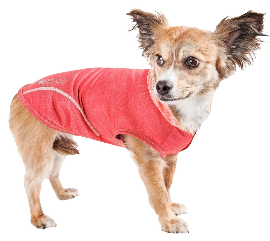Pet Life ®  Active 'Pull-Rover' Premium 4-Way Stretch Two-Toned Performance Sleeveless Dog T-Shirt Tank Top Hoodie X-Small Red