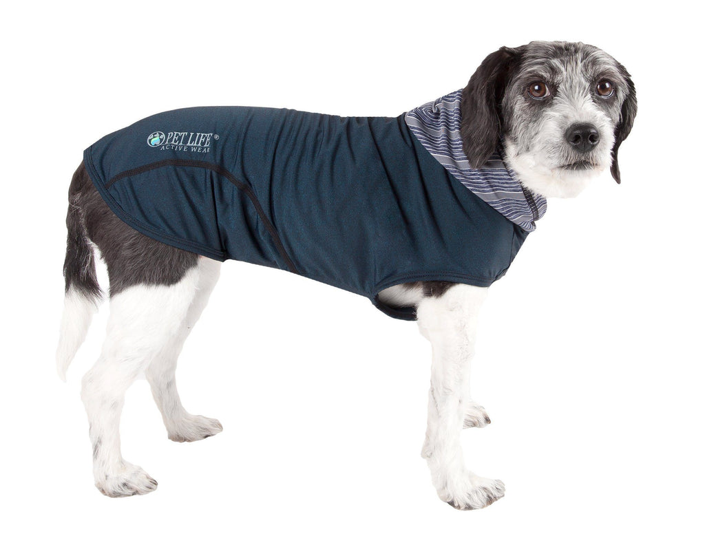 Pet Life ®  Active 'Pull-Rover' Premium 4-Way Stretch Two-Toned Performance Sleeveless Dog T-Shirt Tank Top Hoodie X-Small Teal