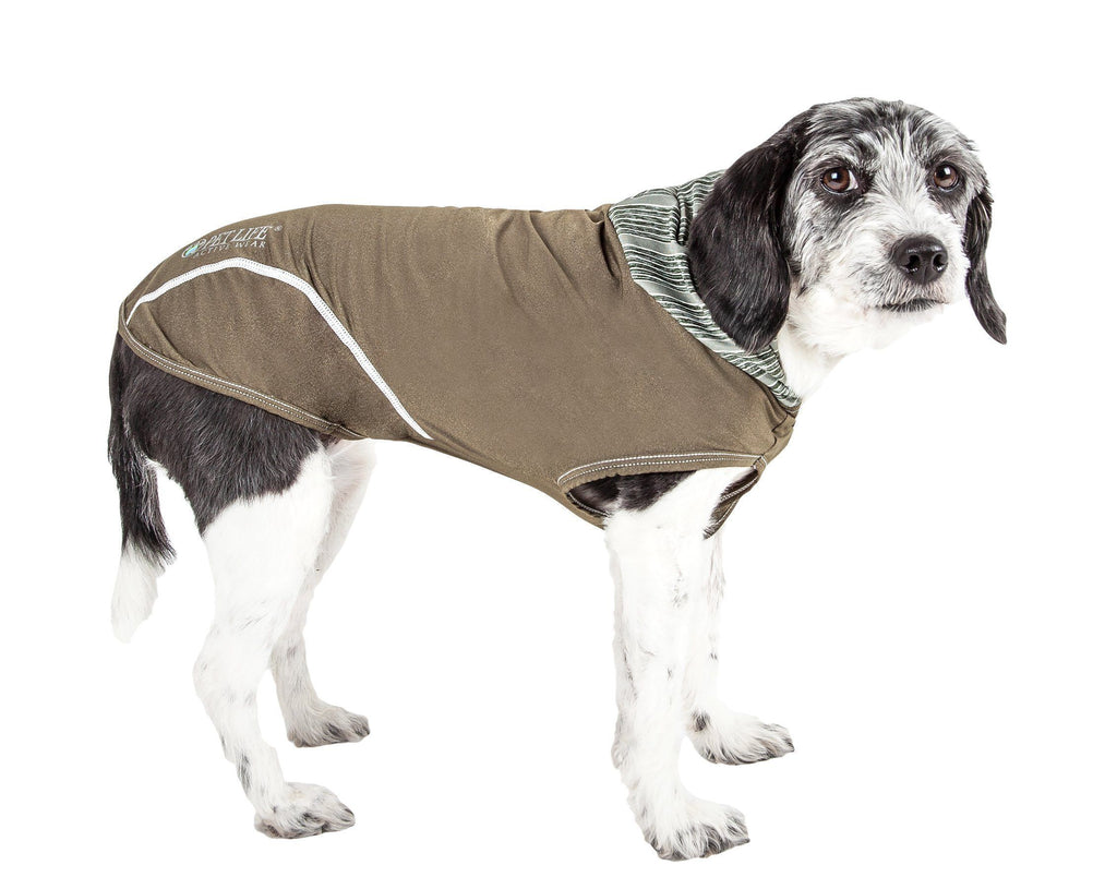 Pet Life ®  Active 'Pull-Rover' Premium 4-Way Stretch Two-Toned Performance Sleeveless Dog T-Shirt Tank Top Hoodie X-Small Green
