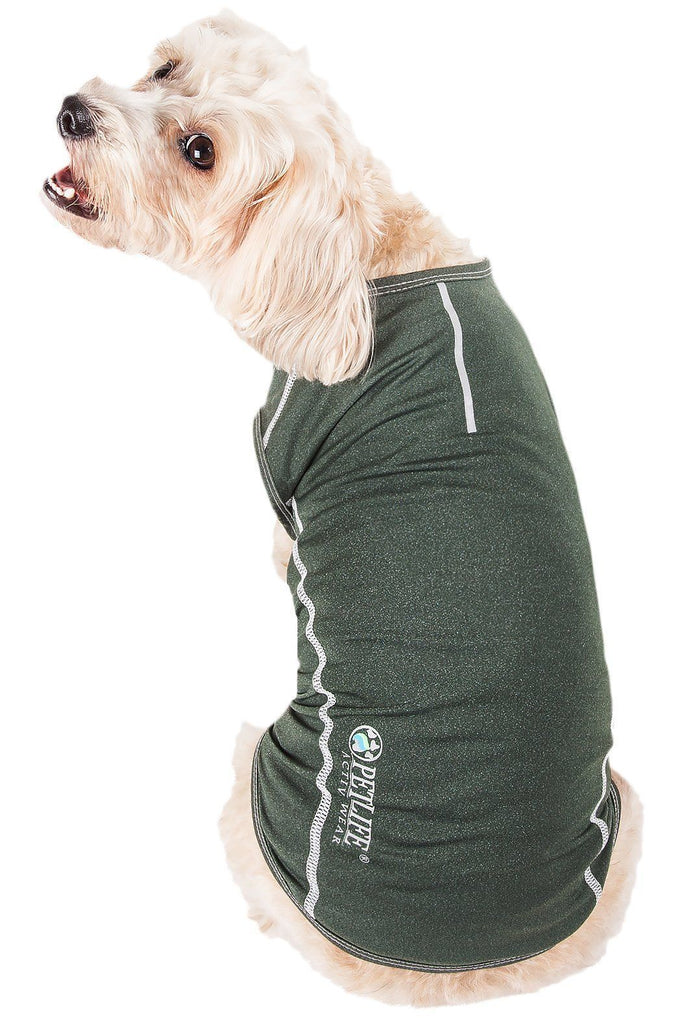 Pet Life ®  Active 'Racerbark' 4-Way Stretch Performance Active Dog Tank Top T-Shirt
