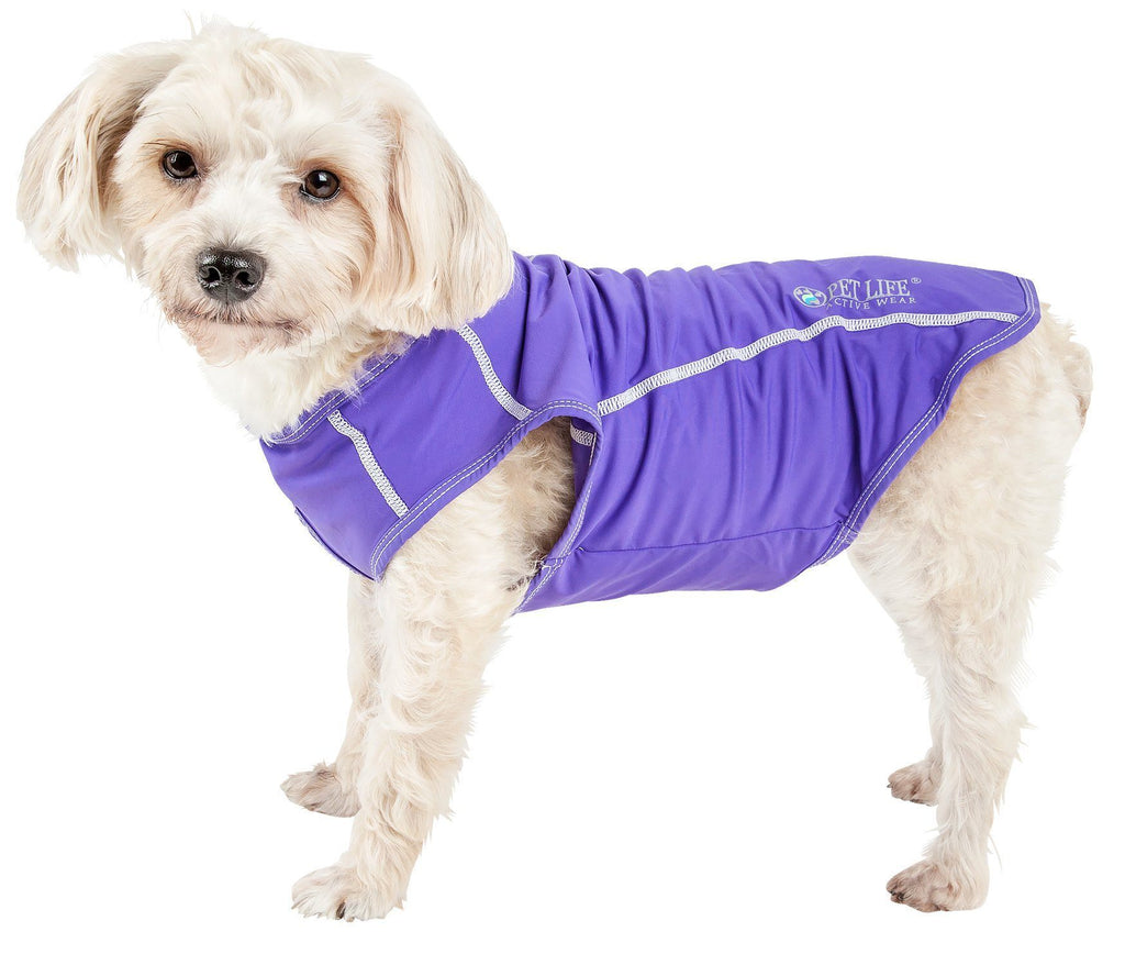 Pet Life ®  Active 'Racerbark' 4-Way Stretch Performance Active Dog Tank Top T-Shirt X-Small Lavander