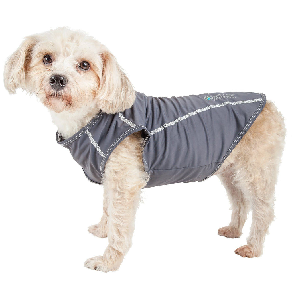 Pet Life ®  Active 'Racerbark' 4-Way Stretch Performance Active Dog Tank Top T-Shirt X-Small Gray