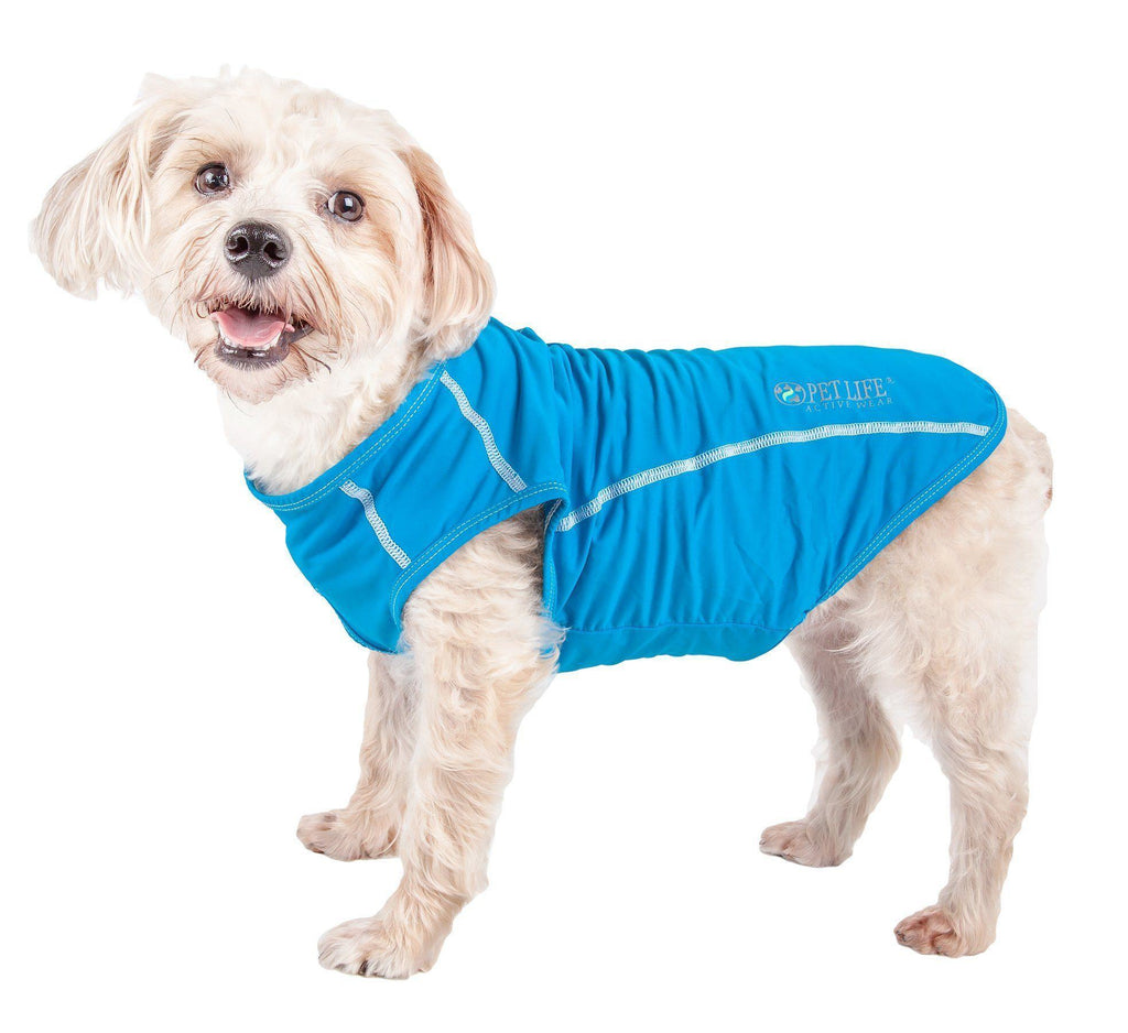 Pet Life ®  Active 'Racerbark' 4-Way Stretch Performance Active Dog Tank Top T-Shirt X-Small Sky Blue
