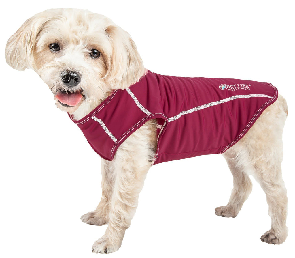 Pet Life ®  Active 'Racerbark' 4-Way Stretch Performance Active Dog Tank Top T-Shirt X-Small Maroon