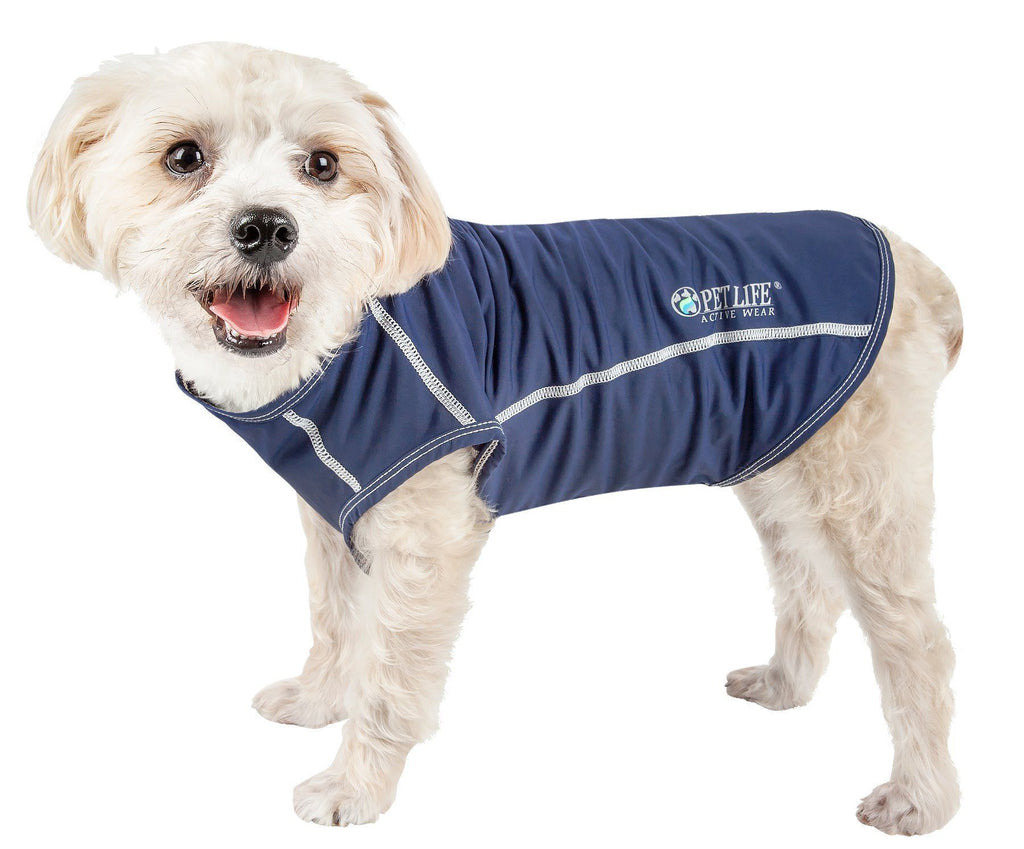 Pet Life ®  Active 'Racerbark' 4-Way Stretch Performance Active Dog Tank Top T-Shirt X-Small Navy