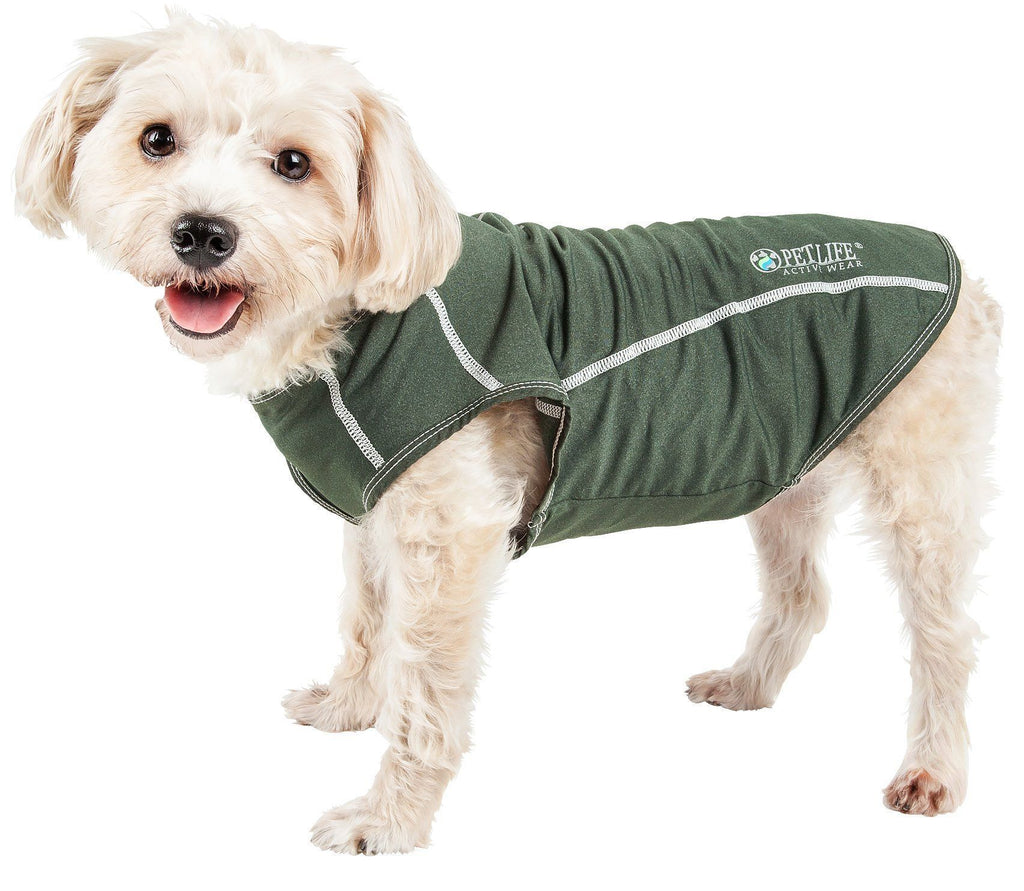 Pet Life ®  Active 'Racerbark' 4-Way Stretch Performance Active Dog Tank Top T-Shirt X-Small Olive Green