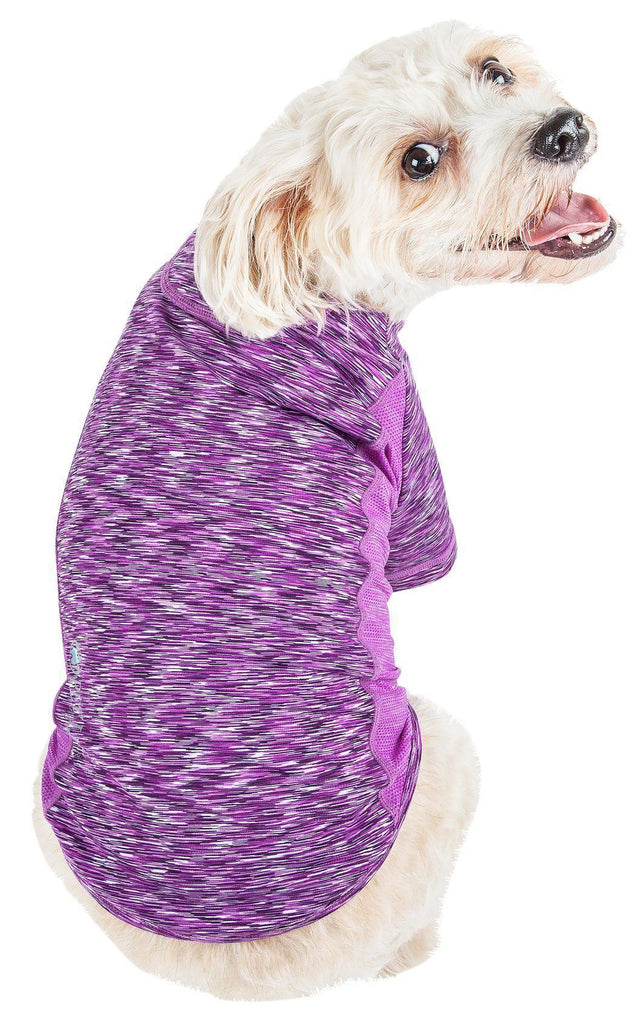 Pet Life ®  Active 'Warf Speed' Heathered Ultra-Stretch Sporty Performance Dog T-Shirt