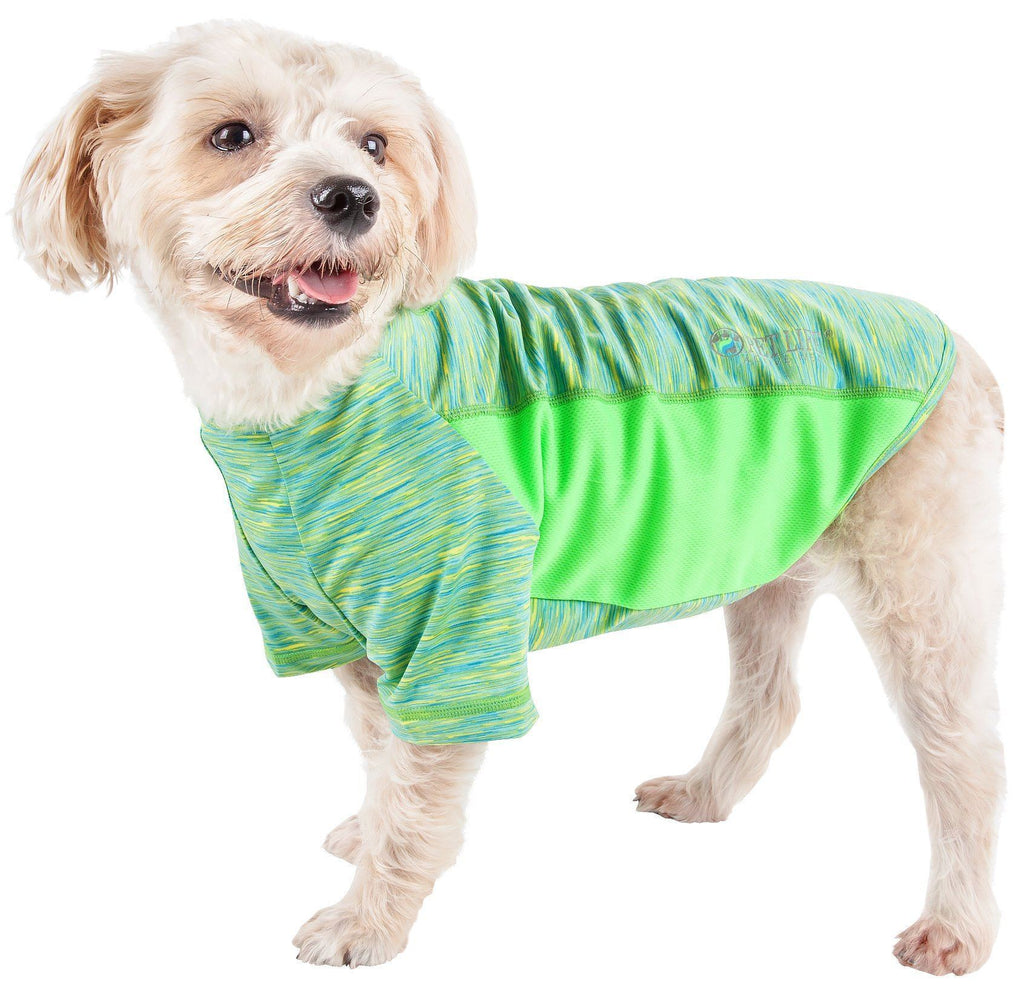 Pet Life ®  Active 'Warf Speed' Heathered Ultra-Stretch Sporty Performance Dog T-Shirt X-Small Green Heather W/ Light Green