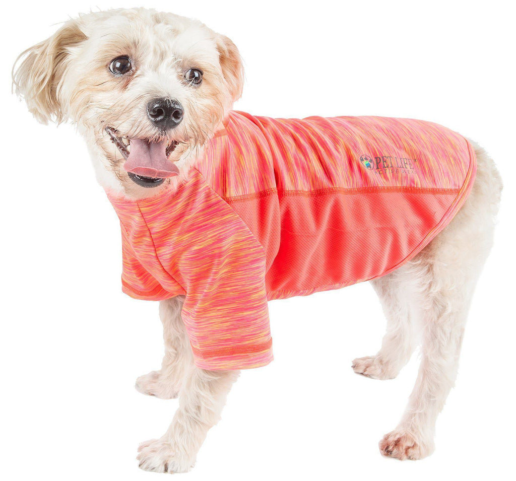 Pet Life ®  Active 'Warf Speed' Heathered Ultra-Stretch Sporty Performance Dog T-Shirt X-Small Neon Orange