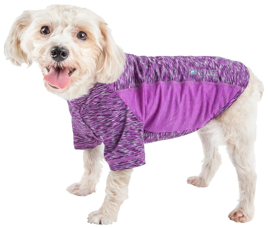 Pet Life ®  Active 'Warf Speed' Heathered Ultra-Stretch Sporty Performance Dog T-Shirt X-Small Purple Heather And Purple