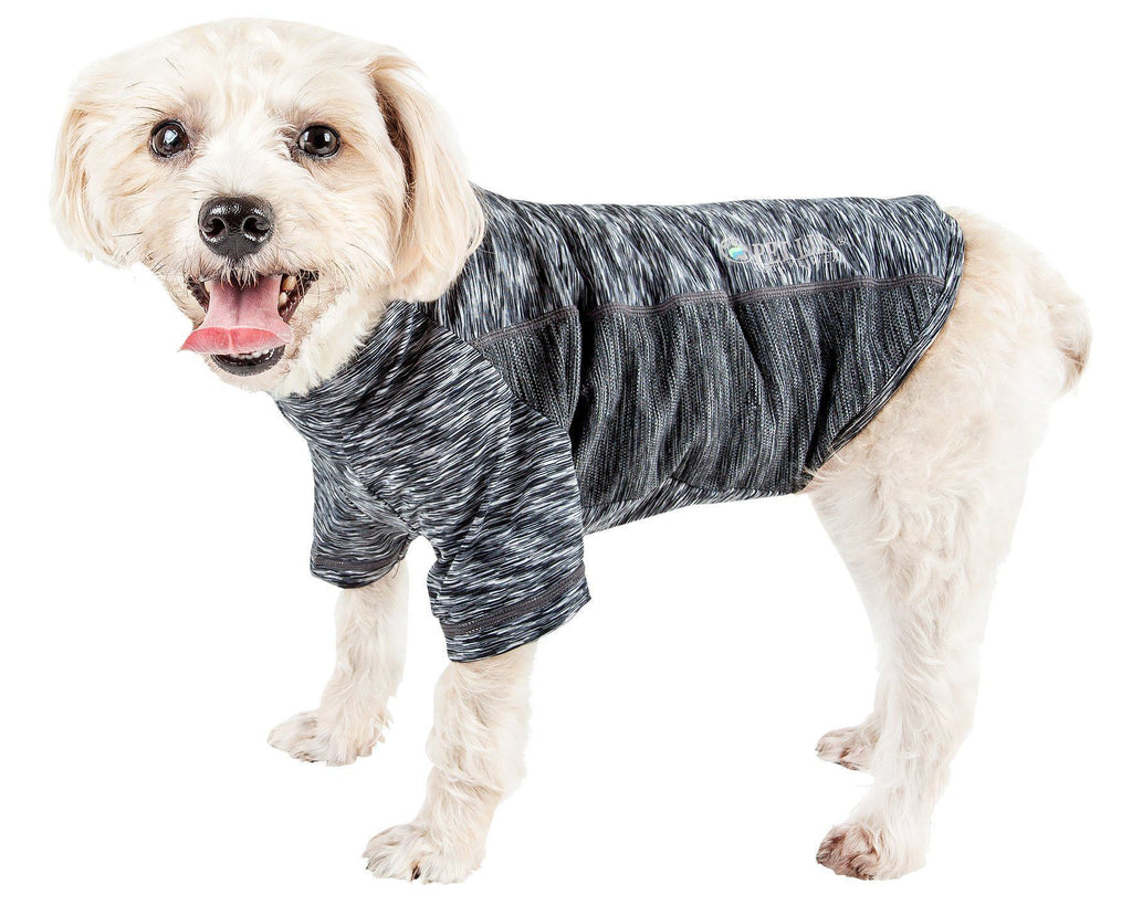 Pet Life ®  Active 'Warf Speed' Heathered Ultra-Stretch Sporty Performance Dog T-Shirt X-Small Black Heather On Black
