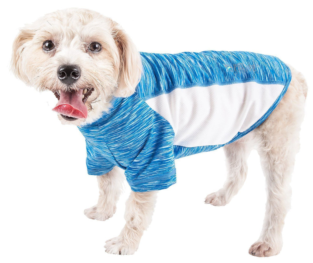 Pet Life ®  Active 'Warf Speed' Heathered Ultra-Stretch Sporty Performance Dog T-Shirt X-Small Blue Heather And White