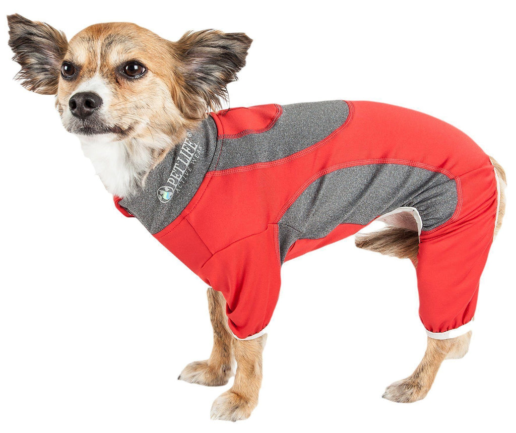 Pet Life ®  Active 'Warm-Pup' Heathered Performance 4-Way Stretch Two-Toned Full Body Warm Up X-Small Red and Slate Gray