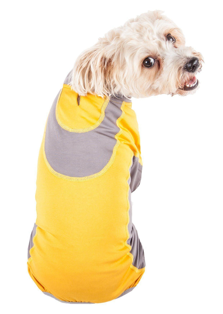 Pet Life ®  Active 'Warm-Pup' Heathered Performance 4-Way Stretch Two-Toned Full Body Warm Up
