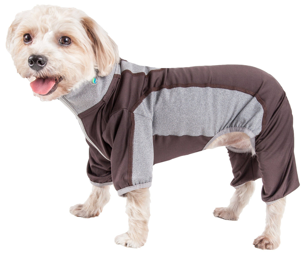 Pet Life ®  Active 'Warm-Pup' Heathered Performance 4-Way Stretch Two-Toned Full Body Warm Up X-Small Mudd Brown and Gray